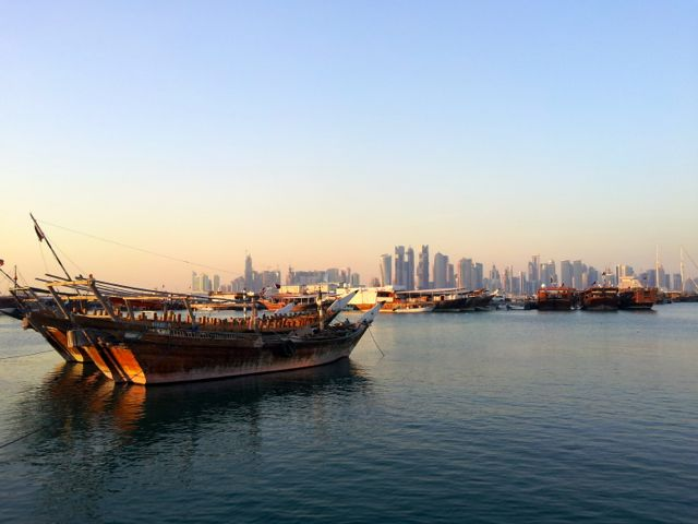 Dhow boats in Doha in Qatar