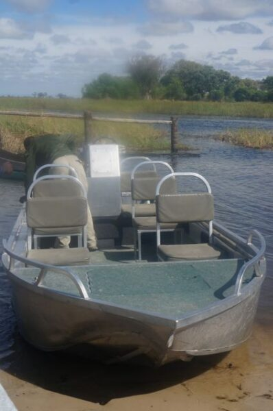 Speedboat in Okavango Delta.