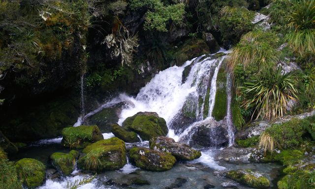 waterfall on routeburn track