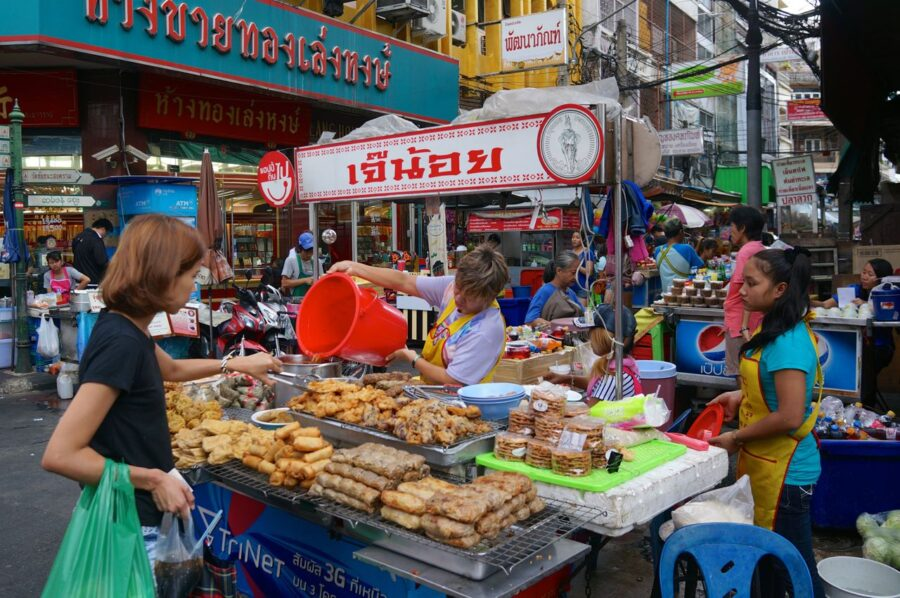 Food stalls in Bangkok Chinatown