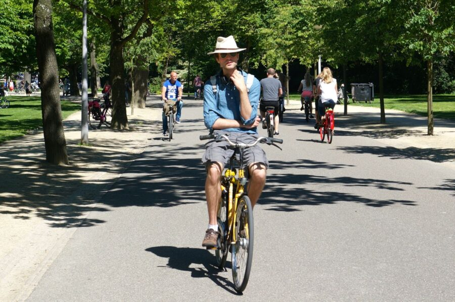 Cyclist in Vondelpark.