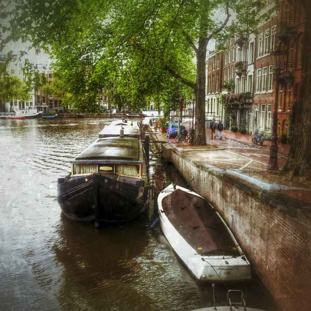 Canal boat in Amsterdam.