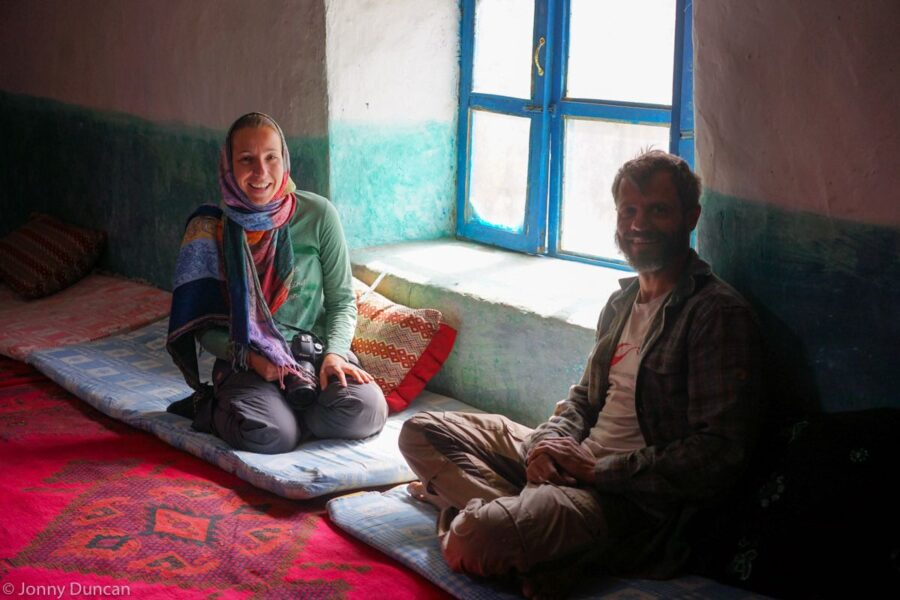 Roy and Michelle wait for lunch at a guesthouse in the Wakhan.