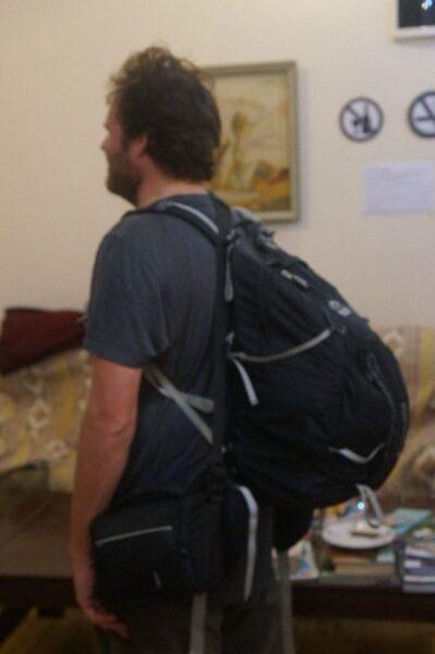 My backpack full.