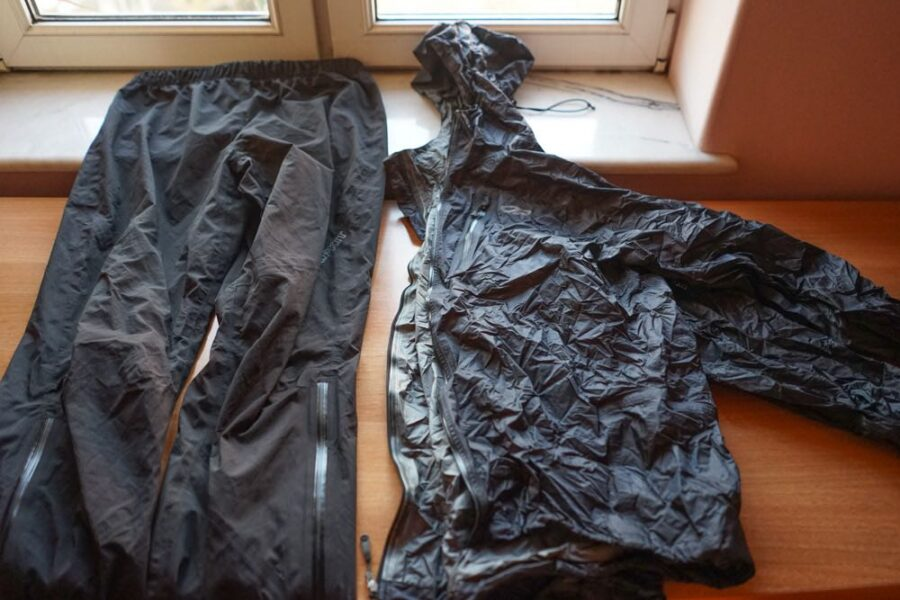 Rain jacket on right next to waterproof trousers.