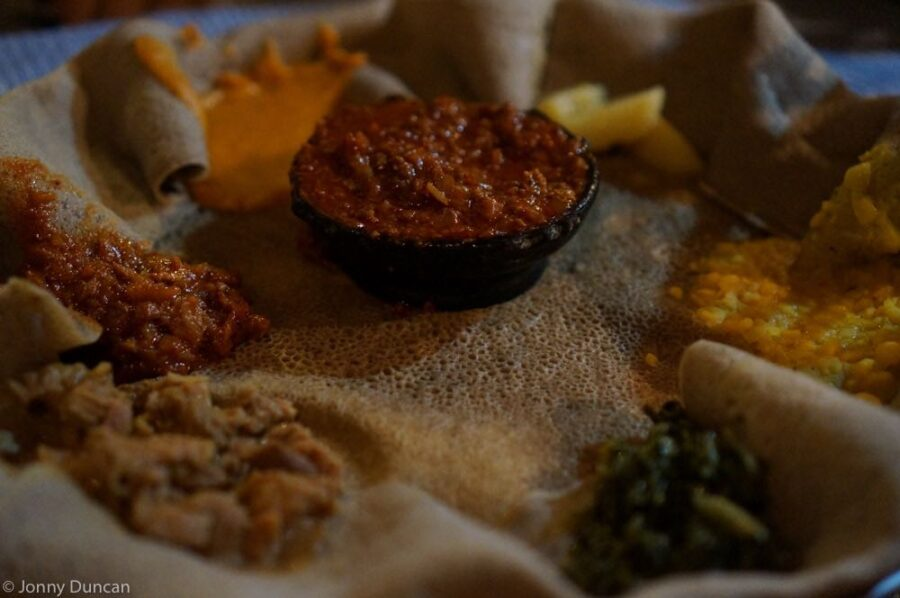 Injera with spices.