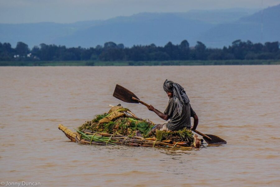 Traditional reed boat on Lake Tana.