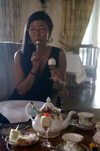 A fellow traveler savours the taste of tiramisu.
