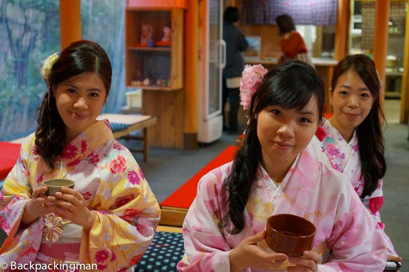 Traditionally dressed Japanese girls in Kyoto
