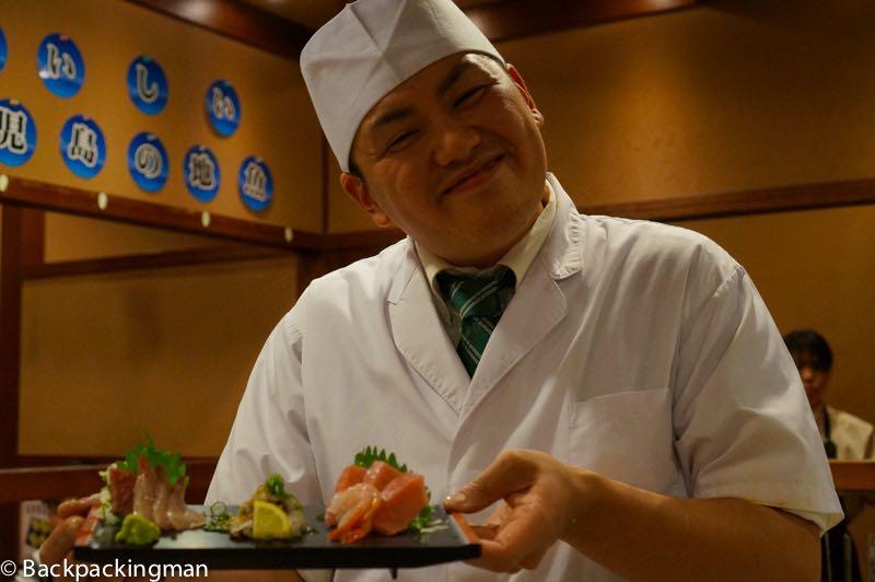 Eating sushi in Kagoshima in Japan