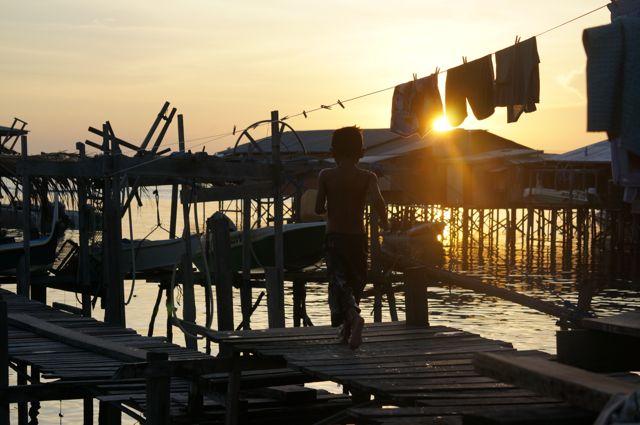 Sea gypsy village on Pulau Mabul