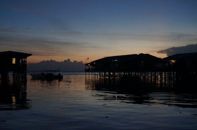 Sea gypsy village at sunset