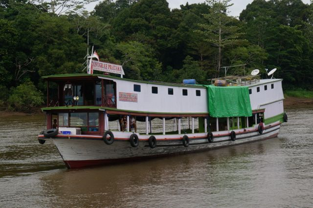 Passenger boat on river in Borneo