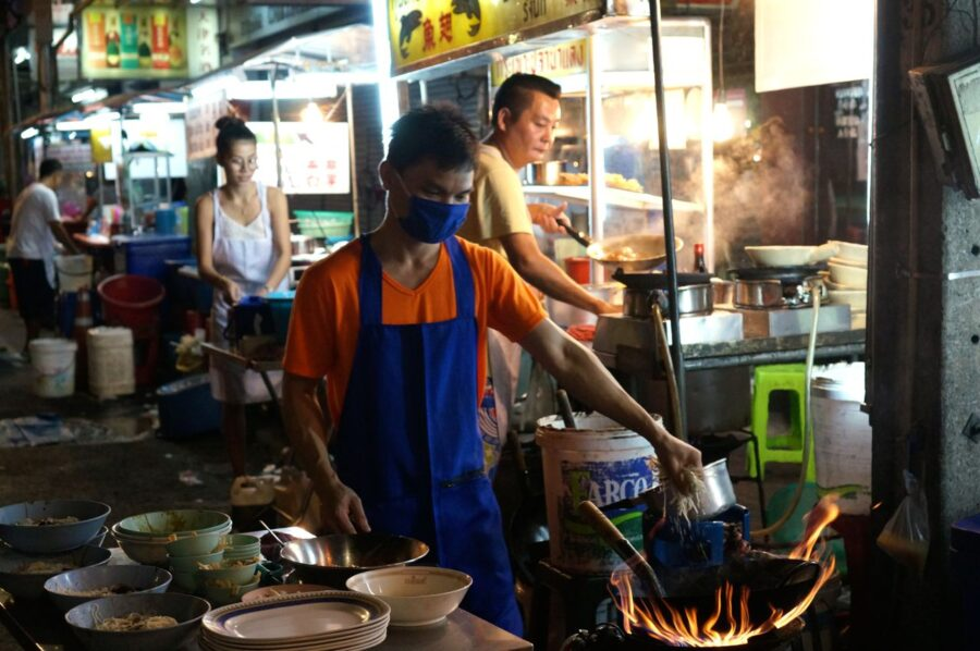 Street food being cooked up in Bangkok's Chinatown.