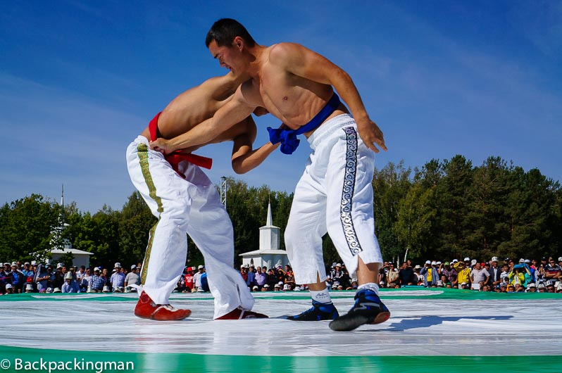 Kyrgyzstan wrestling at the World Nomad Games.