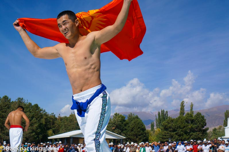 Kyrgyzstan wrestler at World Nomad Games