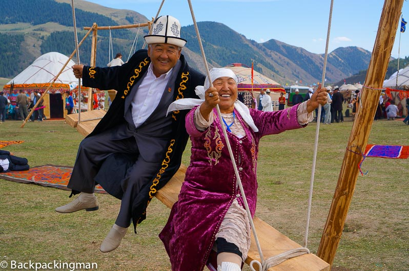 Traditionally dressed people celebrate at the World Nomad Games in Kyrgyzstan