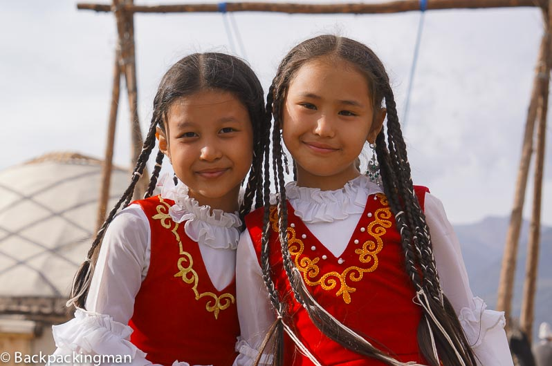Traditionally dressed girls at World Nomad Games