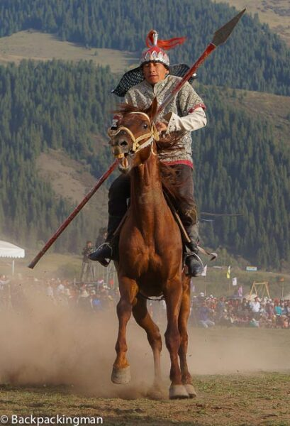 Horse display at World Nomad Games in Kyrgyzstan