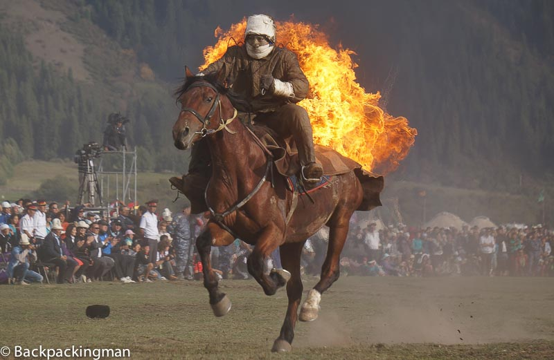 Man on fire on horse at World Nomad Games.