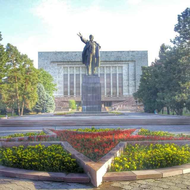 Lenin statue and soviet star in Bishkek, Kyrgyzstan.