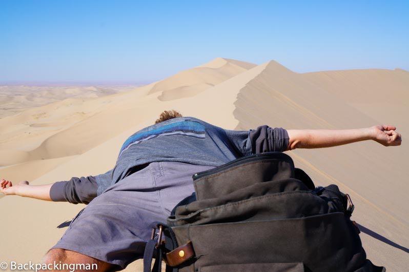 Climbing sand-dunes in the Gobi Desert.