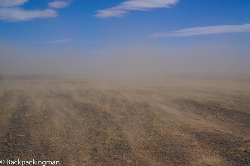 Sandstorm in the Gobi Desert.
