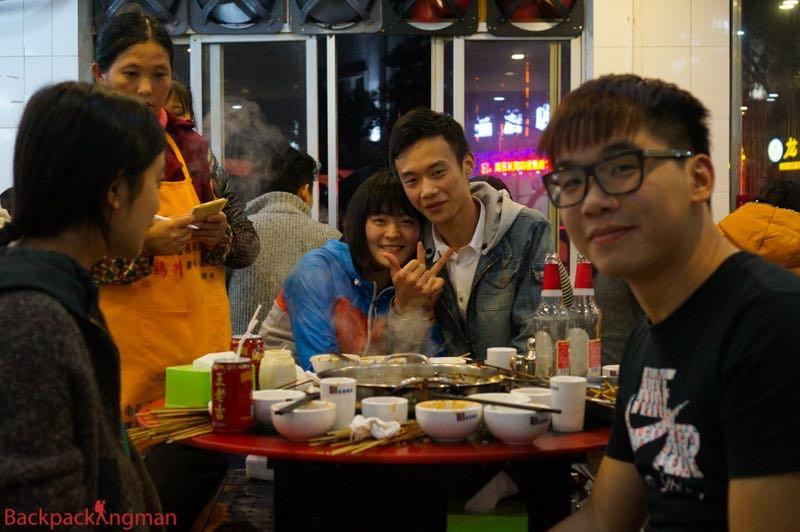 Eating Chongqing hotpot.