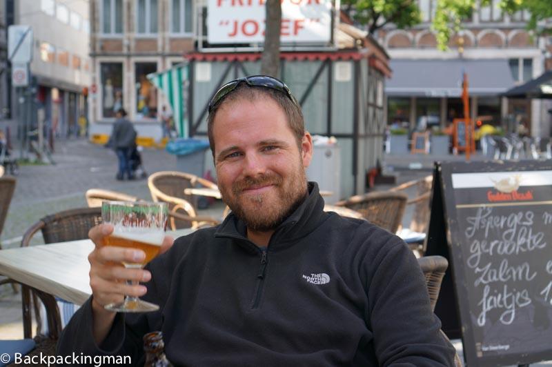 Drinking Belgium beer.