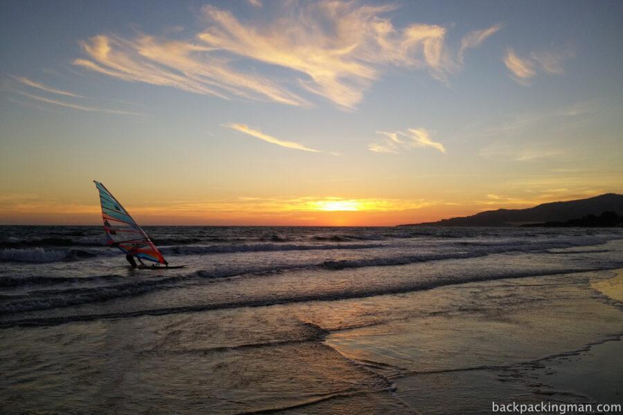 Windsurfing on Tarifa beach in Spain.