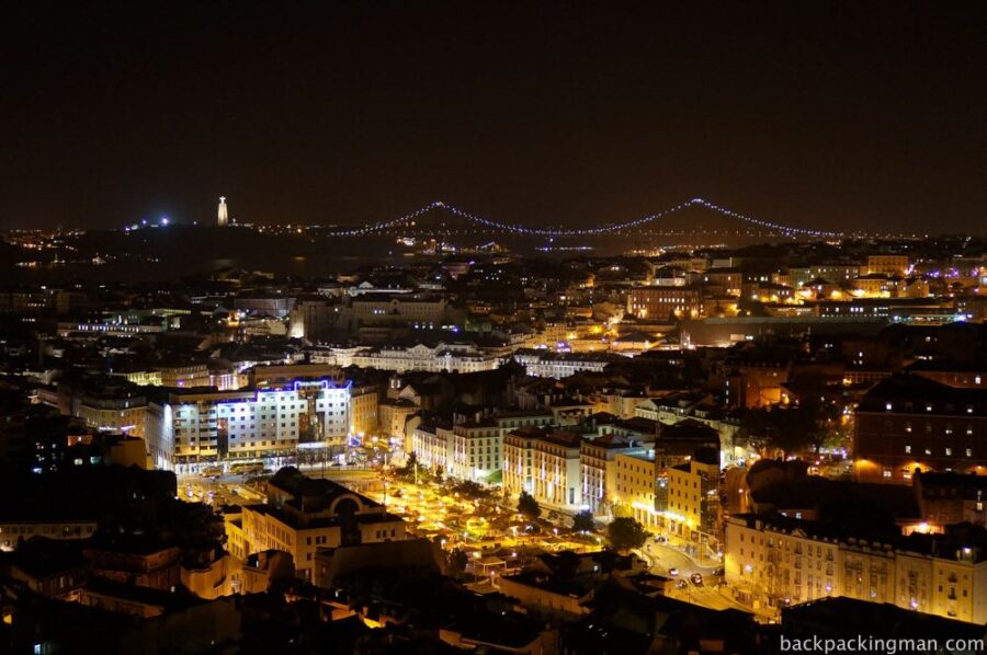 Lisbon in Portugal at night