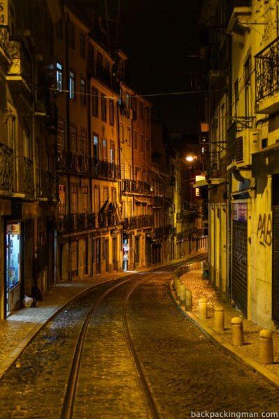 Lisbon streets at night
