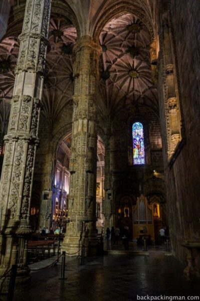 Inside cathedral in Lisbon