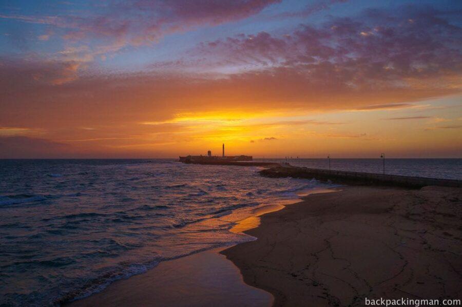 Sunset in Cadiz, Spain