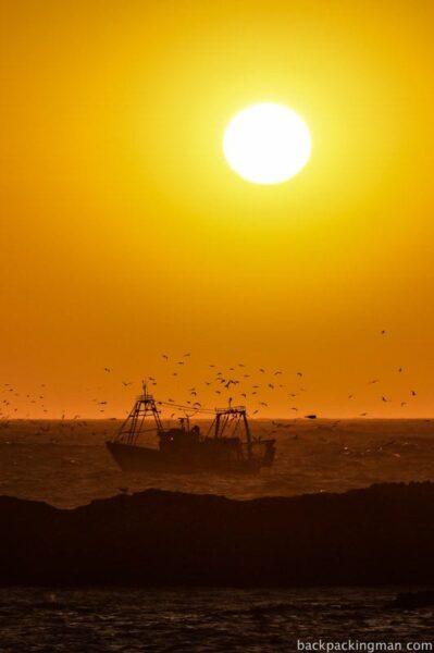 Sunset fishing boats Essaouira