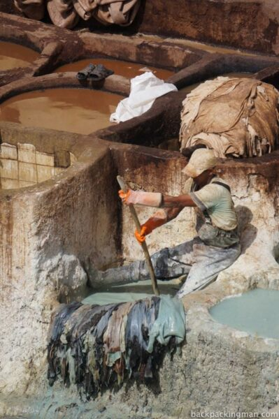 Working in the tanneries in Fes