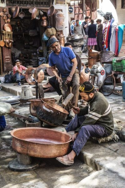 Metal working in Fes Morocco