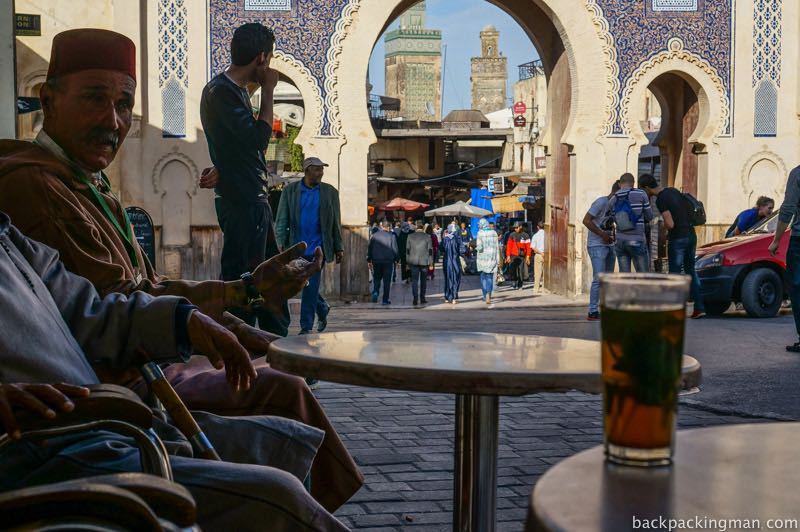 Drinking tea at cafe in Fes