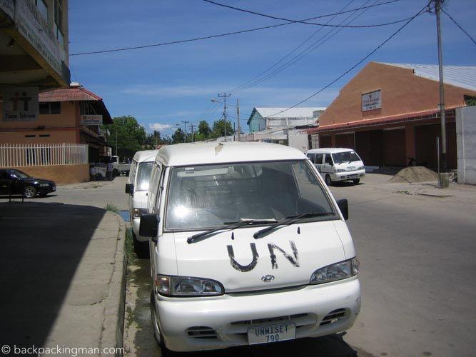 U.N. van in Dili.