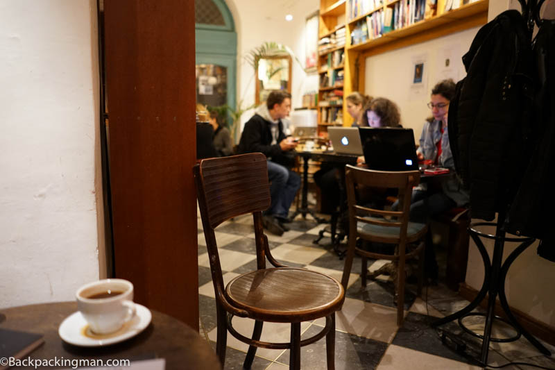 Writing in a chilled out cafe
