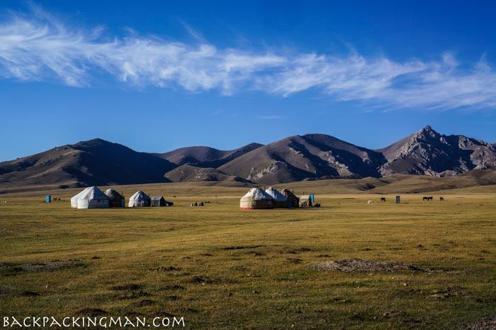 Nomad camp at Song Kul Lake in Kyrgyzstan
