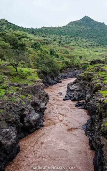 river at blue nile falls in ethiopia