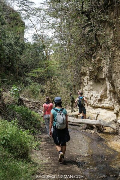 hiking gorge in hells gate in kenya