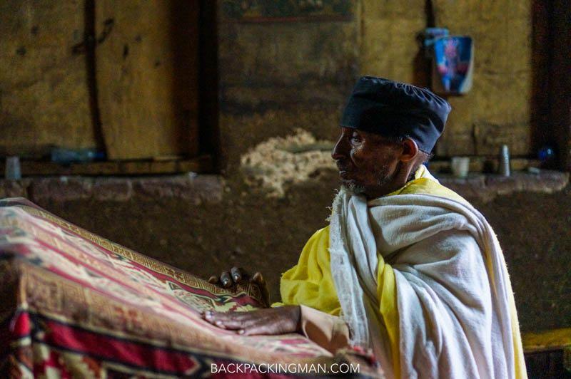 priest in gondar churches in ethiopia