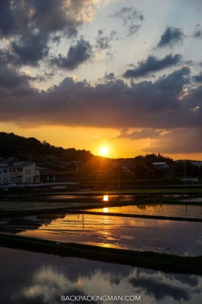osaka to nara cycling sunset