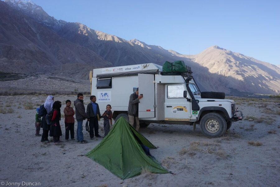 Being woken by curious children when camping in the Wakhan Corridor