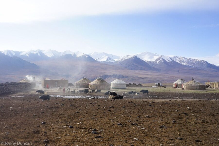 Kyrgyz settlement at the start of the Little Pamir mountains in the Afghanistan wakhan corridor