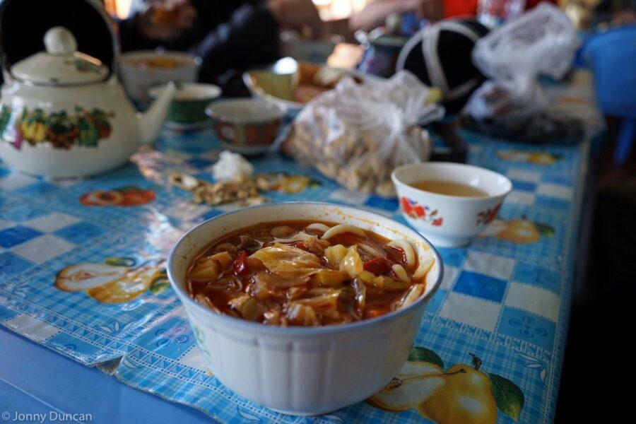 Noodle soup in Alichur.