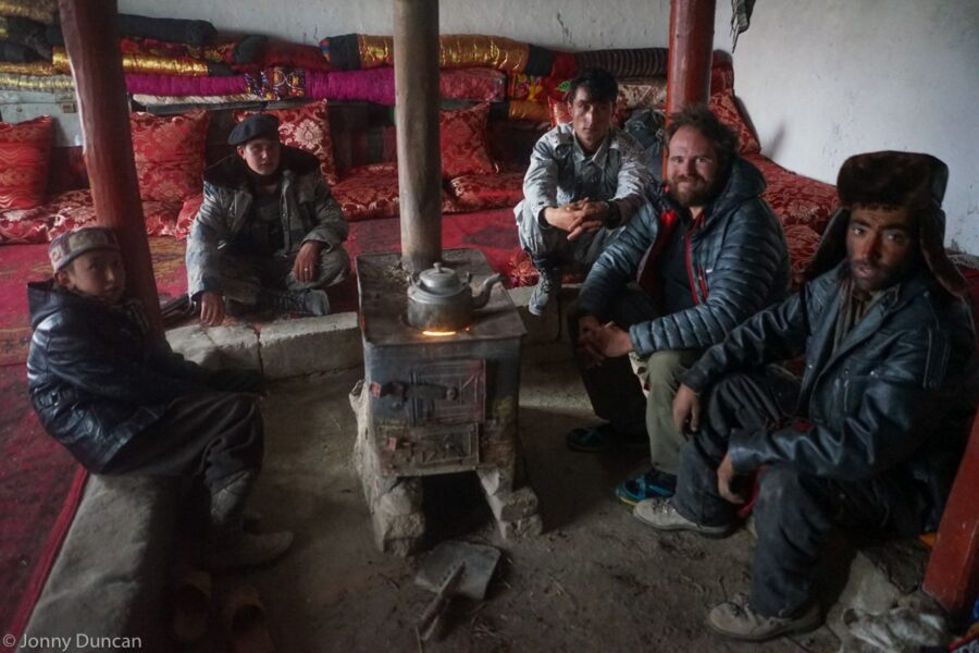At a guesthouse with the local Afghan army commander in the Little Pamir
