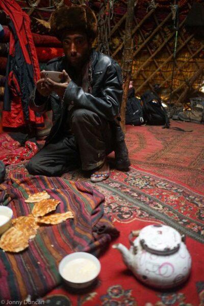 Drinking tea inside a Kyrgyz yurt in the Little Pamir.